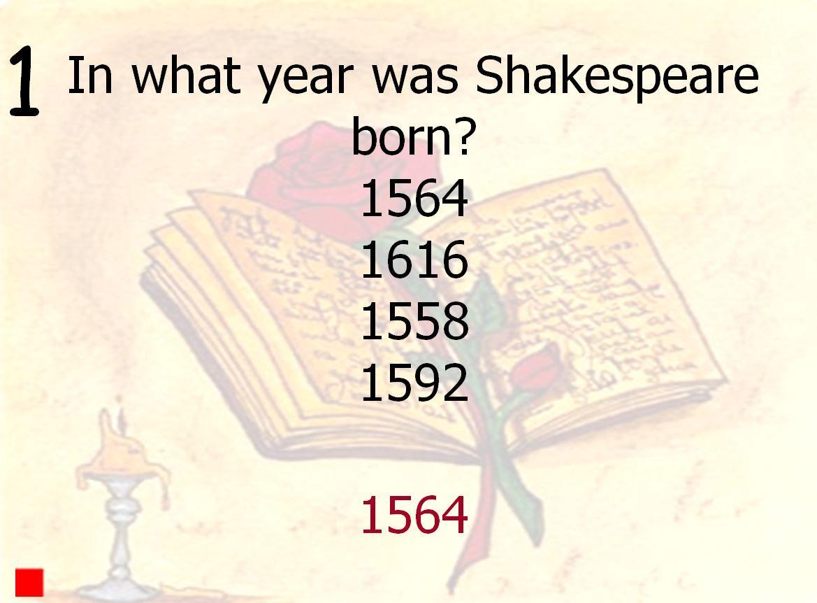 Shakespeare Interactive Quiz