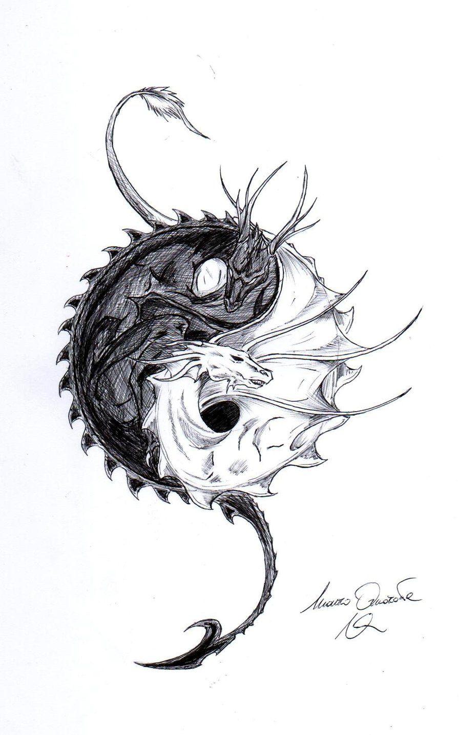 Dragon Yin Yang yinyang dragons Pinterest Dragons