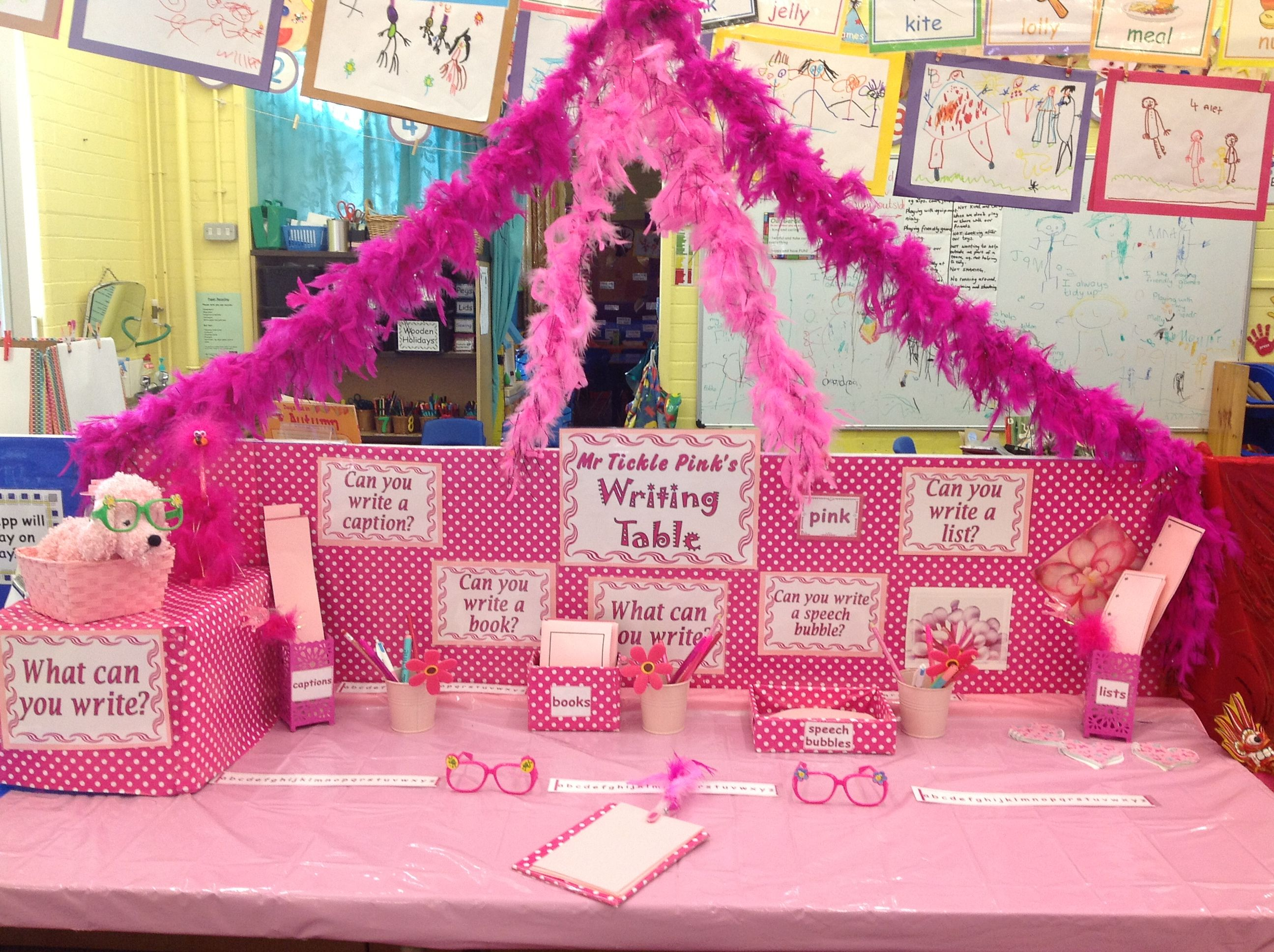 Mr Tickled Pink Has Set Up A Writing Table Over Half Term As Requested By The Children He S