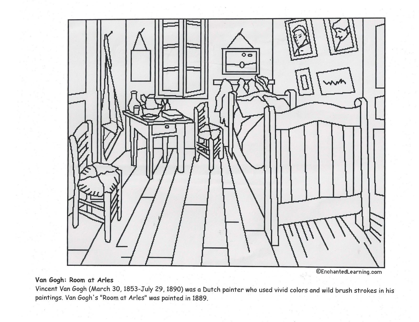 Vincent Van Gogh S Bedroom At Arles Coloring Page