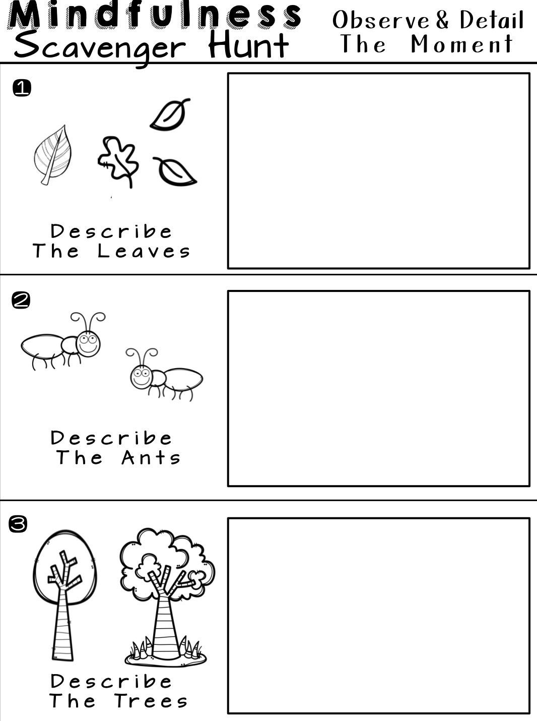Mindfulness Scavenger Hunt Worksheets For Relaxation And