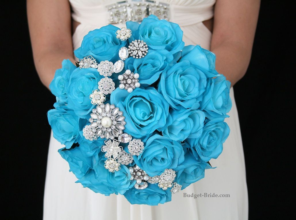 Malibu Blue Wedding Flowers With Jewels. Complete Wedding