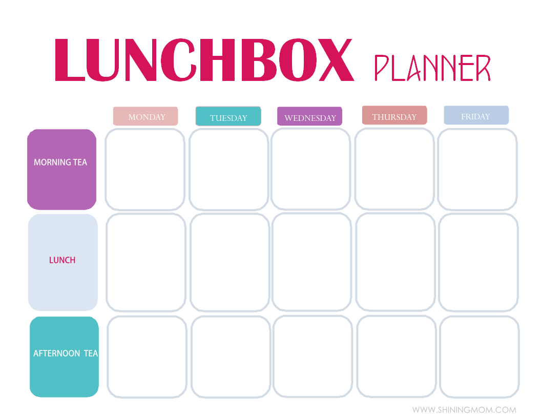 Free Printable Easy 5 Day Lunchbox Planner