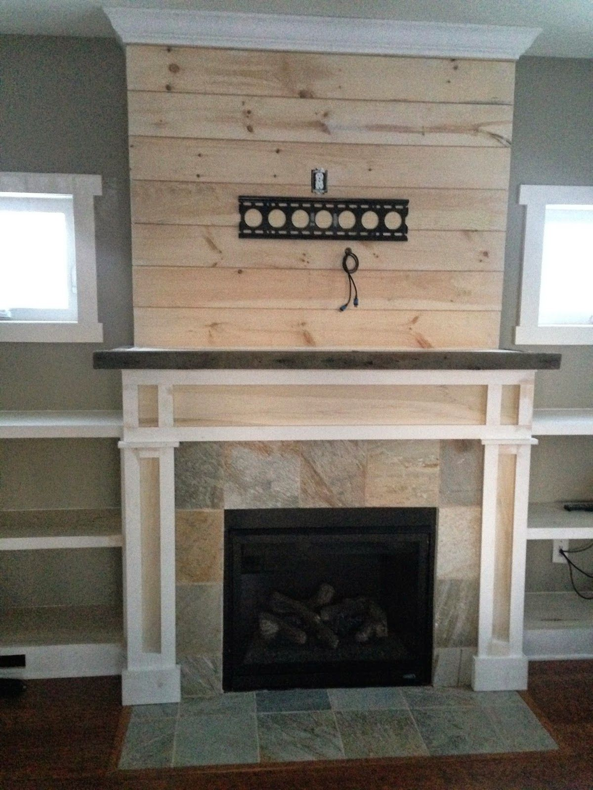 Shiplap Fireplace with BuiltIns