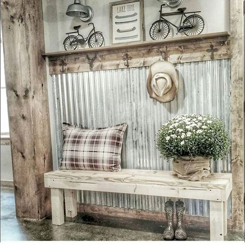 60 Rustic Farmhouse Mudroom Decorating Ideas Rustic