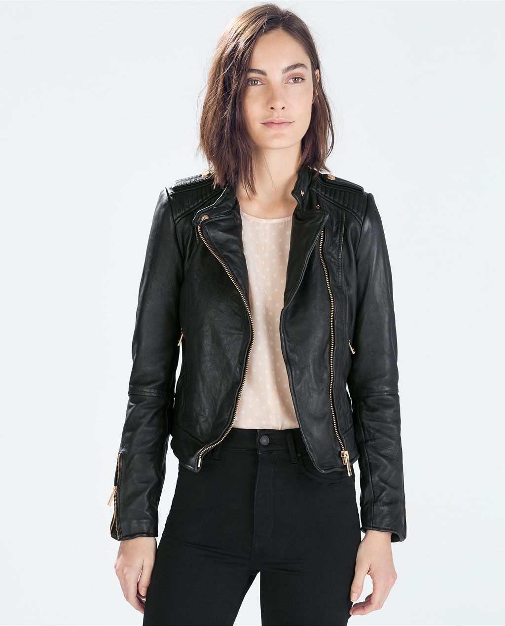 Beautiful leather jacket! ZARA WOMAN LEATHER BIKER