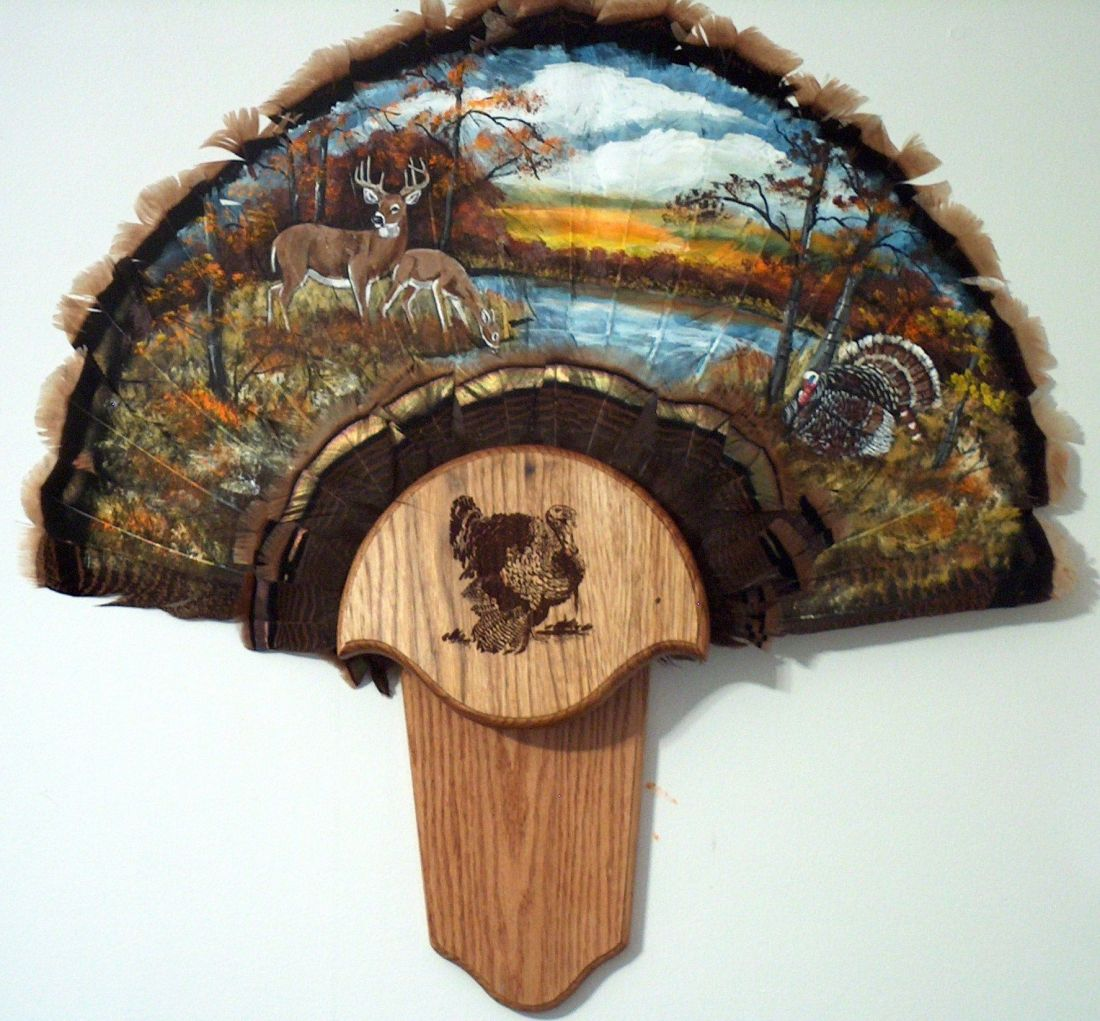 A full wild turkey fan hand painted with a hand made and
