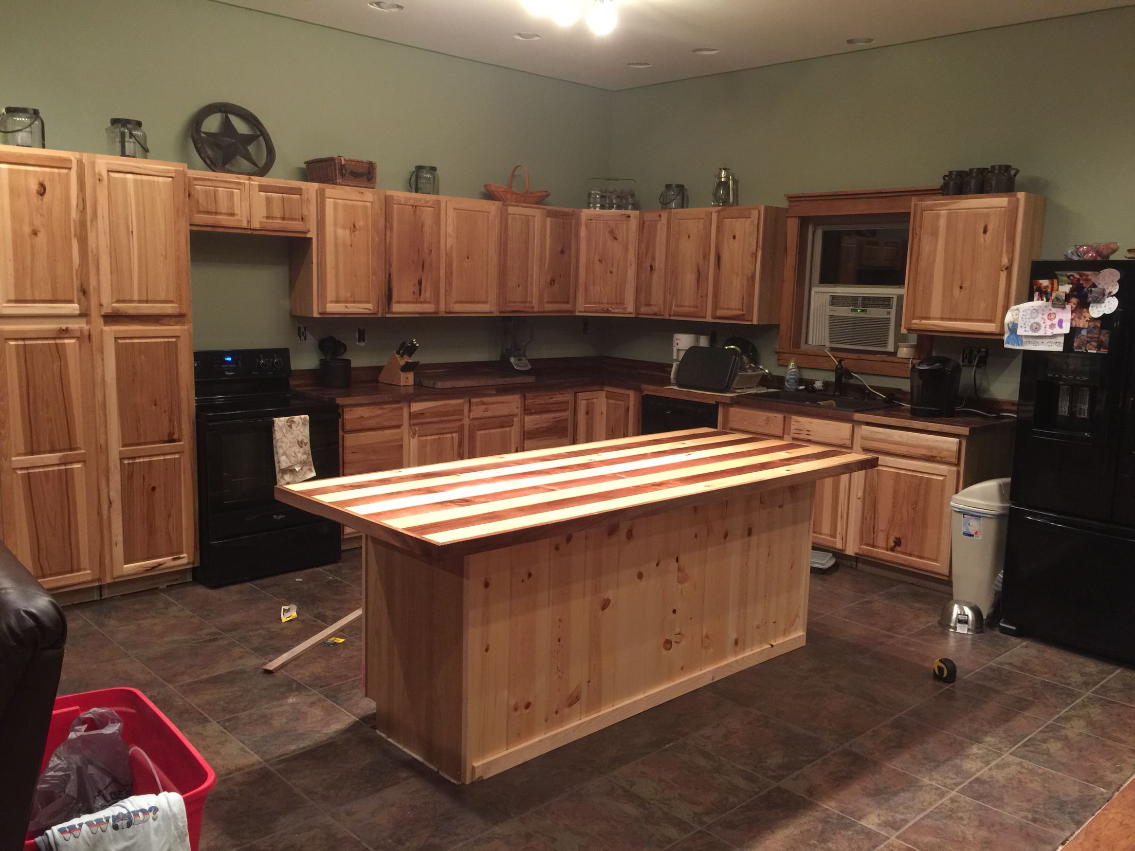 Kitchen overview; Hickory from Lowes, Walnut