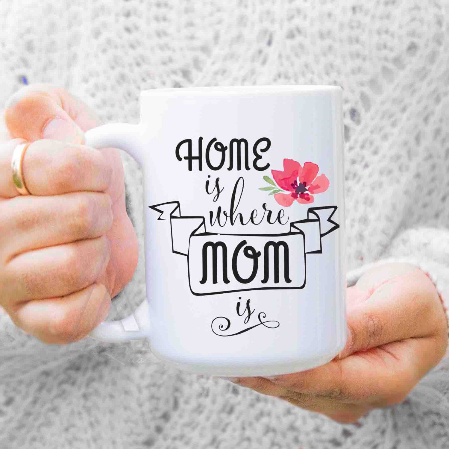 "gifts for mom from daughter ""Home is where mom is"" coffee"