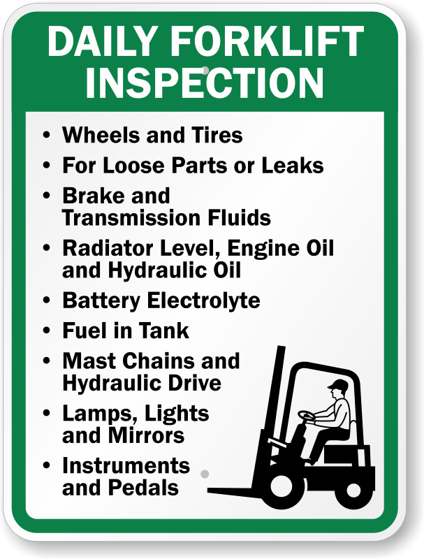 Forklift Inspection Signs MySafetySign. EHS TEMPLATES