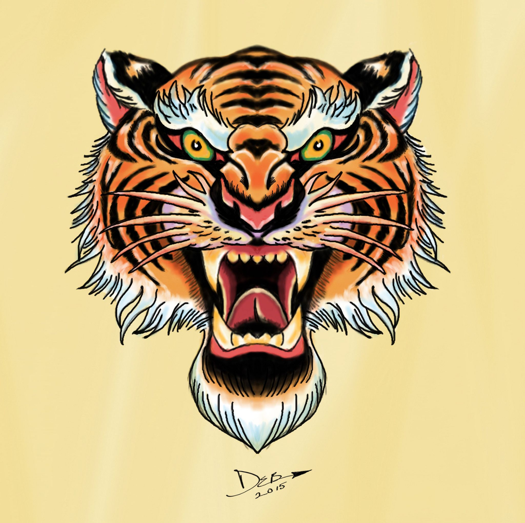 royal bengal tiger flash In the style of tattoo flash art
