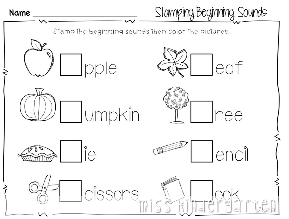 Miss Kindergarten print and go printables for fall My