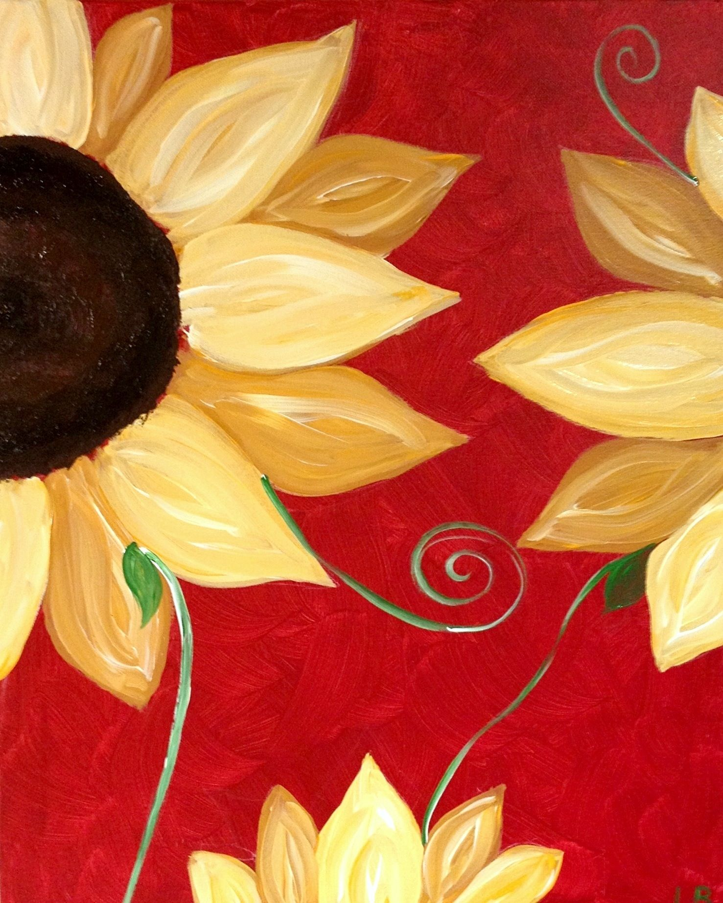 "My ""Sunflower on Red"" painted Linda Bruinenberg"