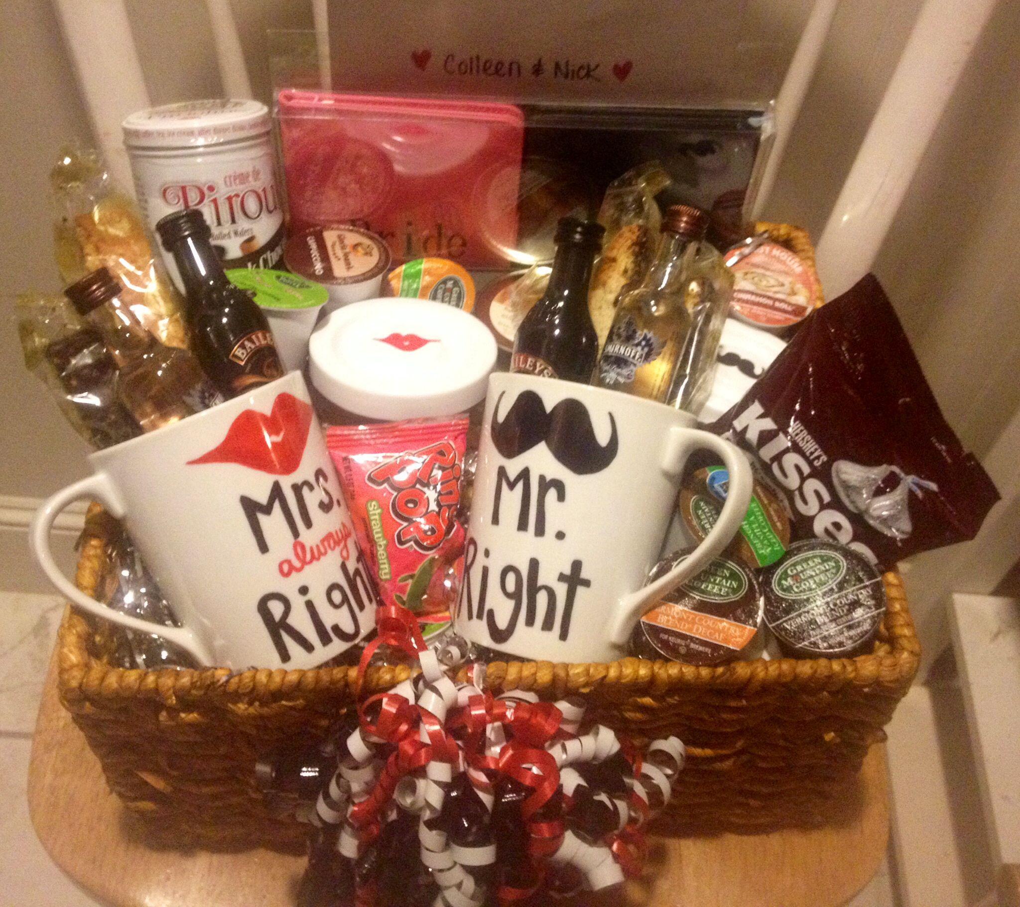 Coffee themed engagement basket DIY Pinterest