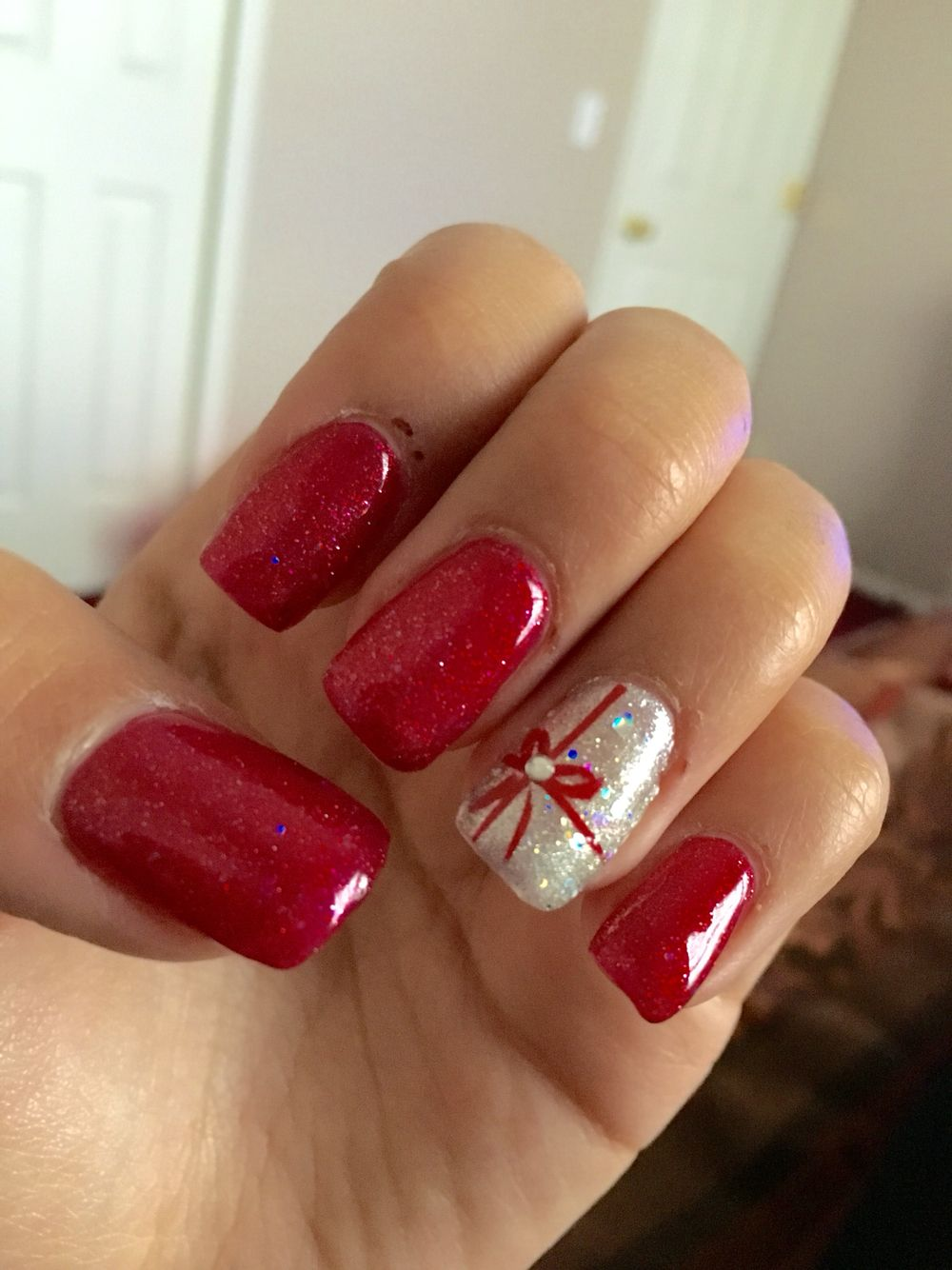 Cute nails, Christmas nails, acrylic, gel, shilac, red