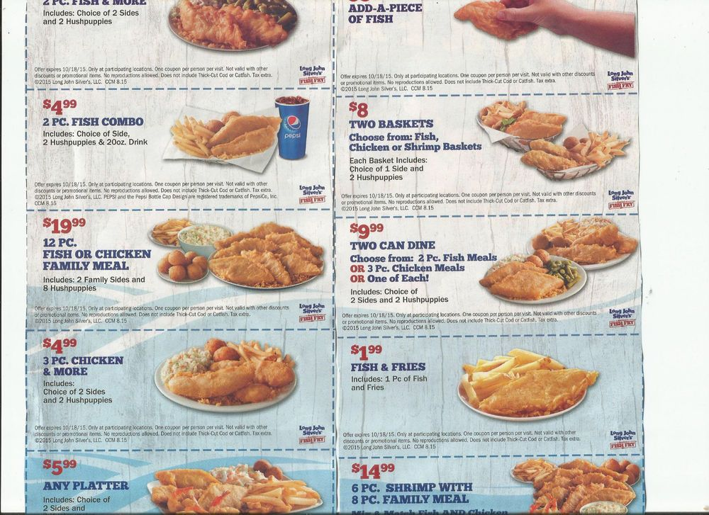 26 SEAFOOD COUPONS CAPTAIN D'S LONG JOHN SILVER'S FAST
