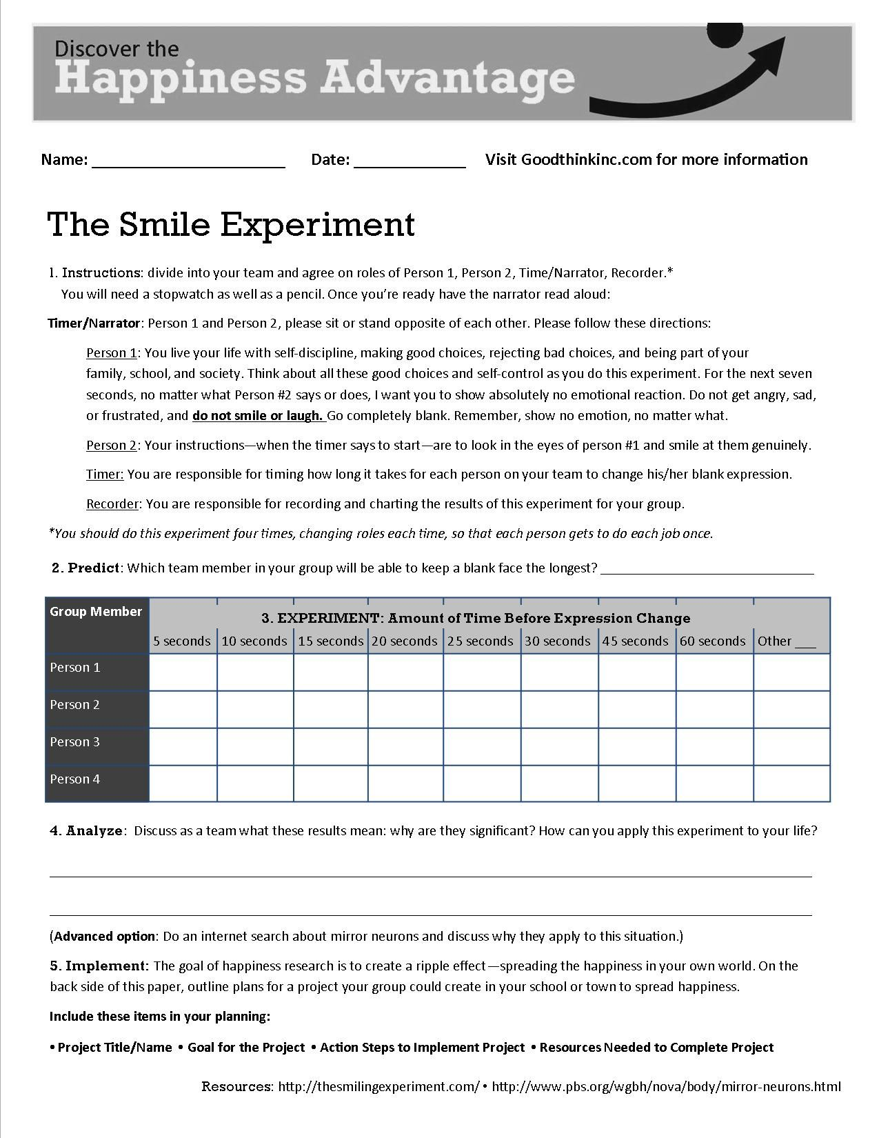 This Is Goodthink S Smile Experiment Worksheet That Turns