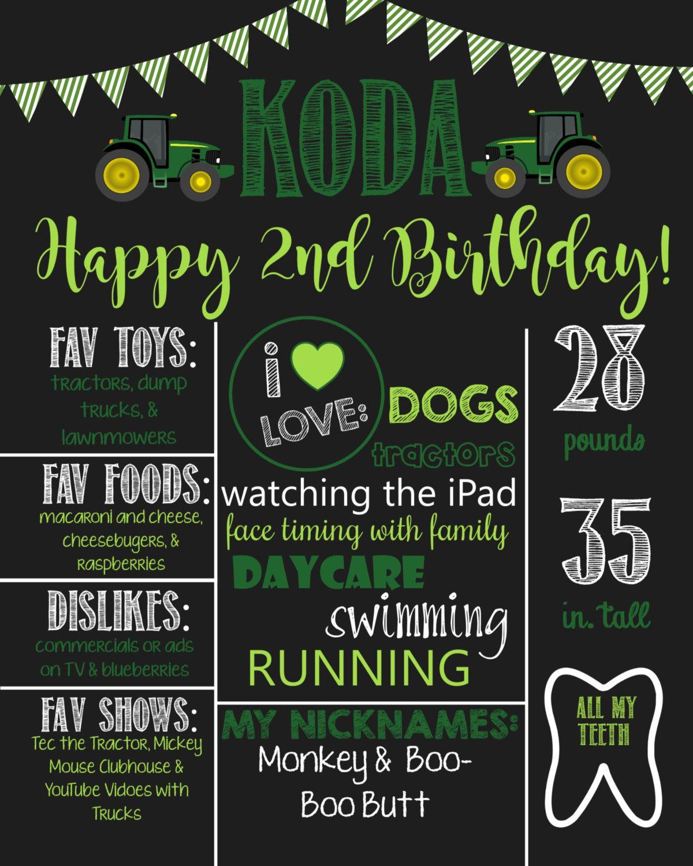 Tractor Theme Birthday Chalkboard Sign John Deere Printable Birthday Chalkboard Poster