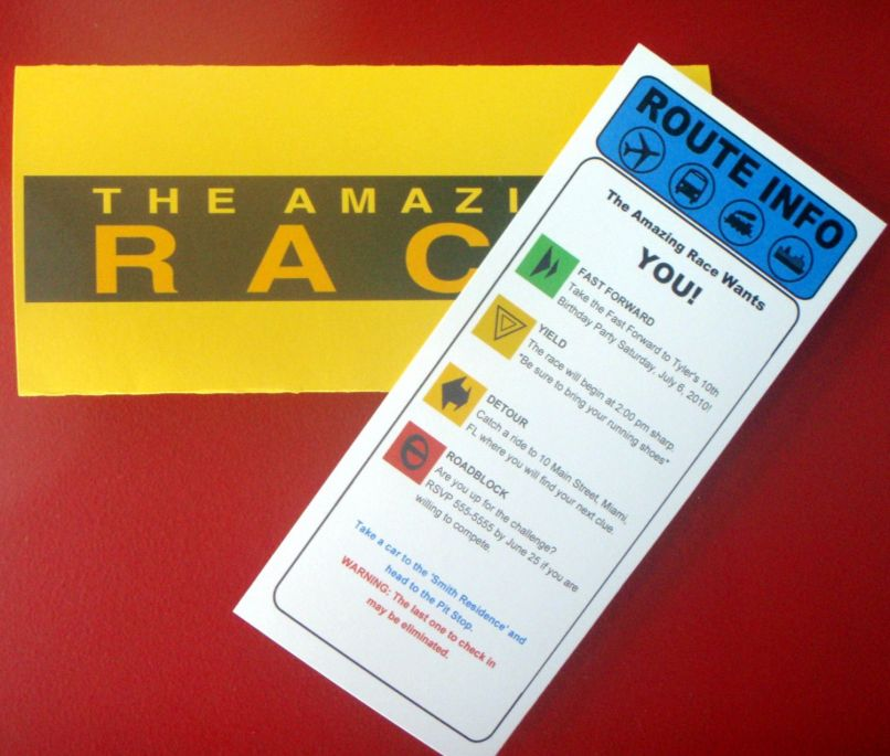 Amazing Race Birthday Party Invitations Choice Image - coloring ...