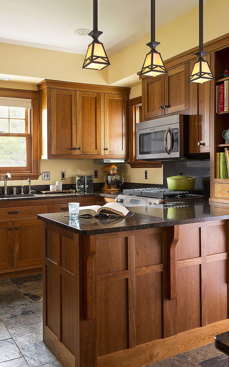 Craftsman details abound in this updated kitchen. Custom