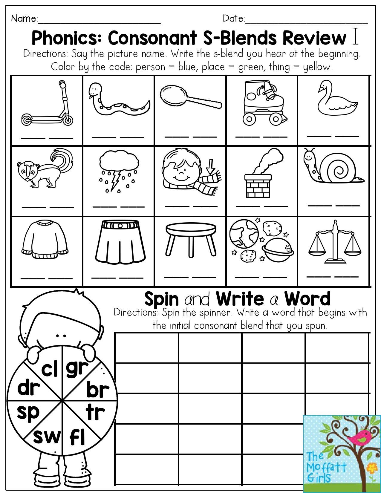 Phonics Consonant S Blends Review Write The S Blend That