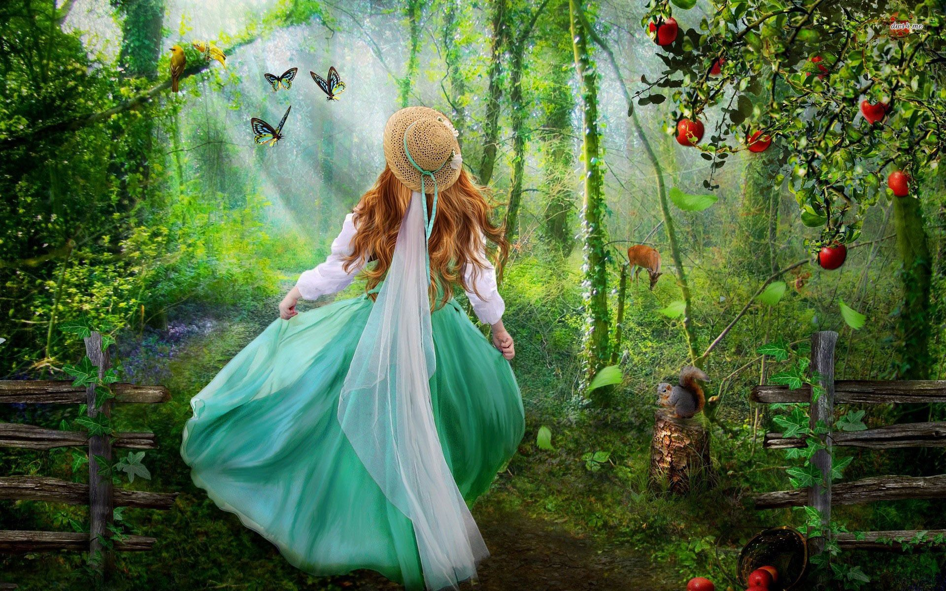forest, tree, bird, woman 16983-girl-in-the-enchanted- | passion