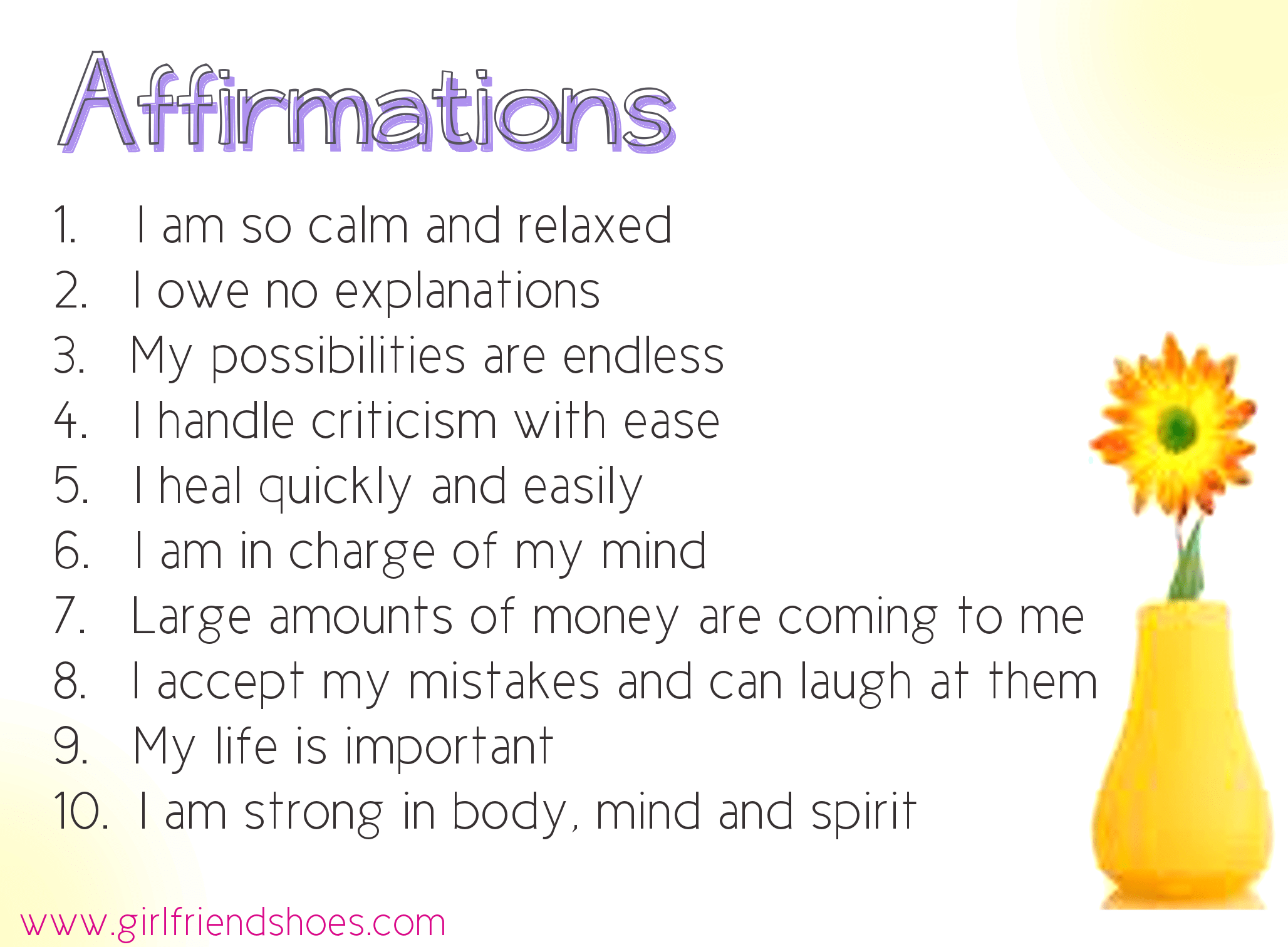 Free Printable Daily Affirmations