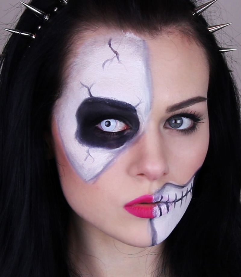 Easy Half Skeleton Makeup Tutorial Makeupview
