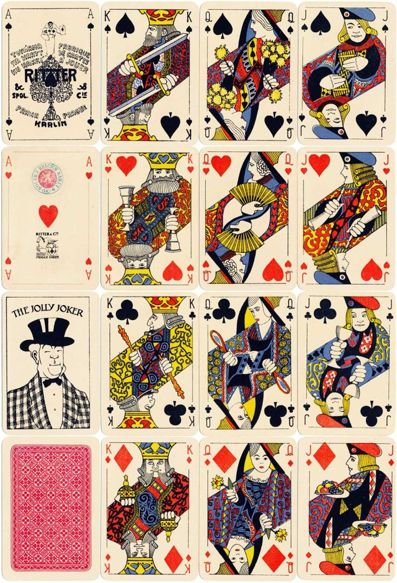 Art deco style playing cards by ritter cie prague 1933