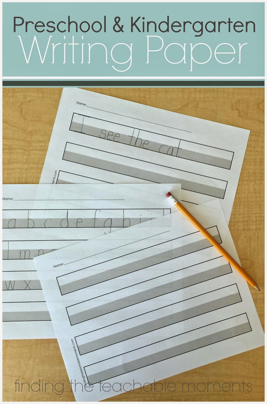 Free Printable Handwriting Paper For Preschool Or Kindergarten The Gray Area Provides A Visual