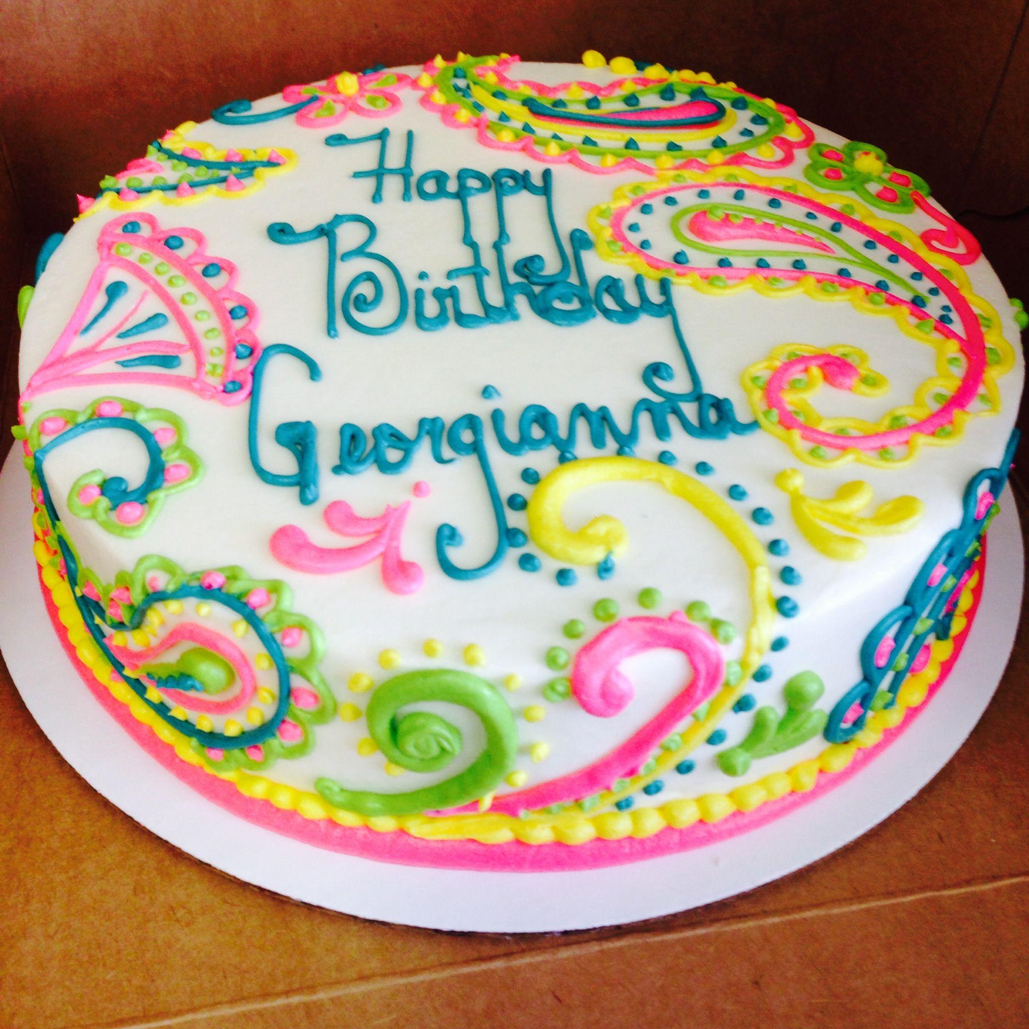 Colorful Paisley Birthday Cake