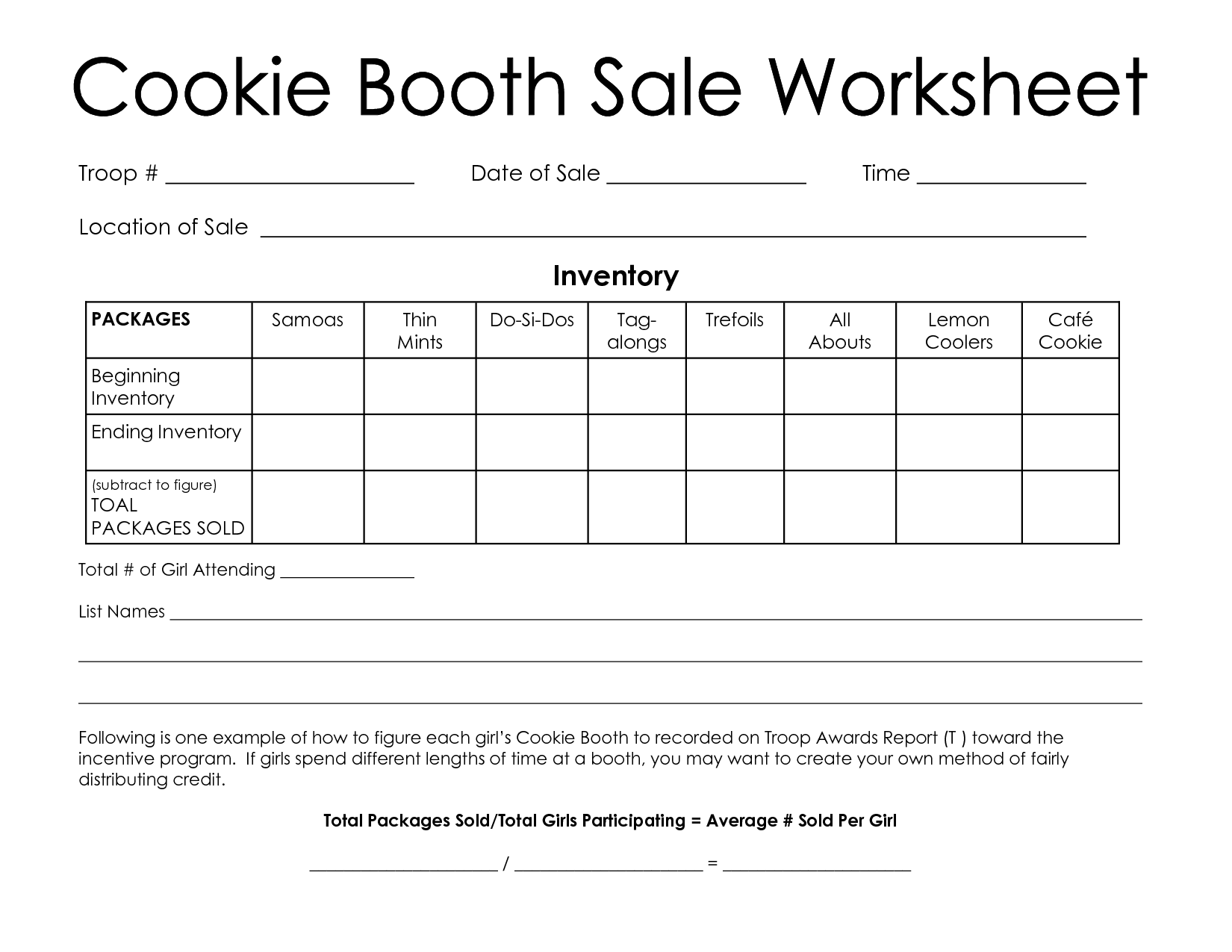 Girl Scout Cookie Booth Worksheet