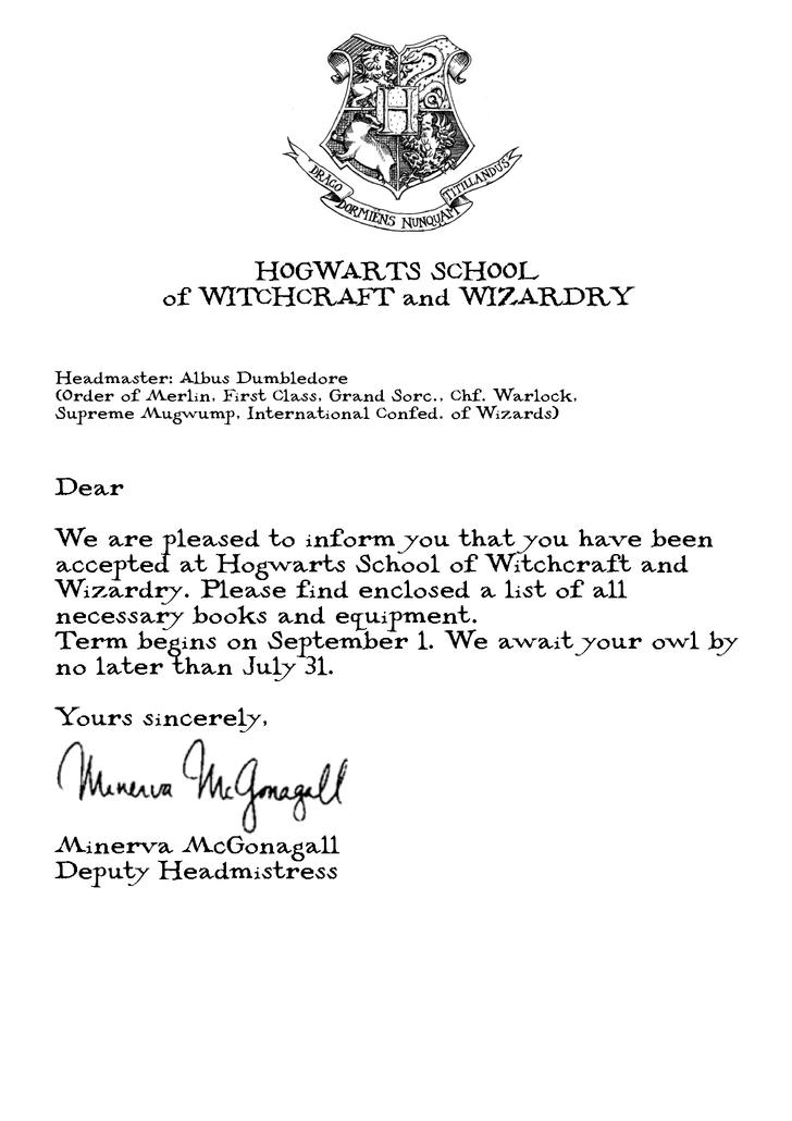 Harry Potter Hogwarts acceptance letter Harry potter