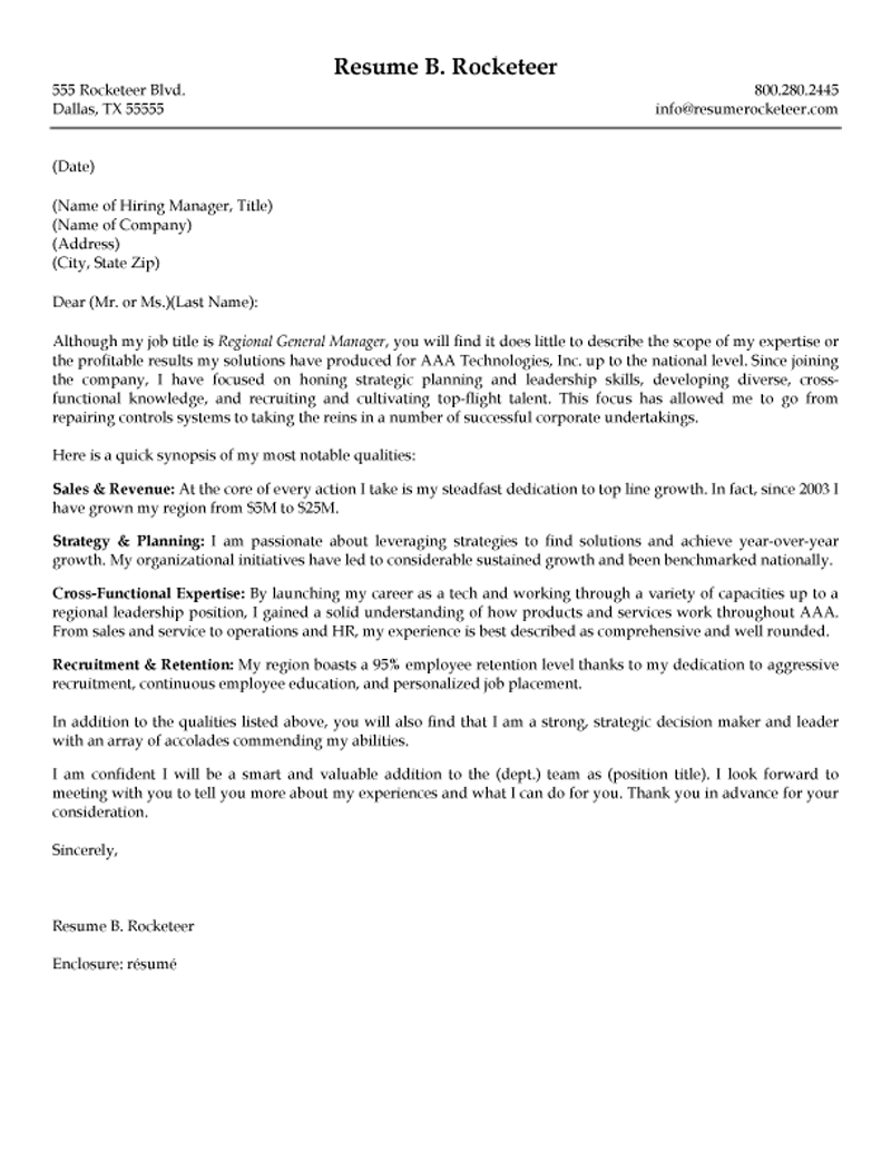 hospitality management cover letter
