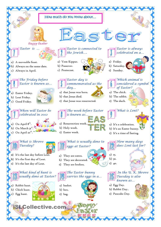 EasterQuiz English for kids Pinterest Best Easter