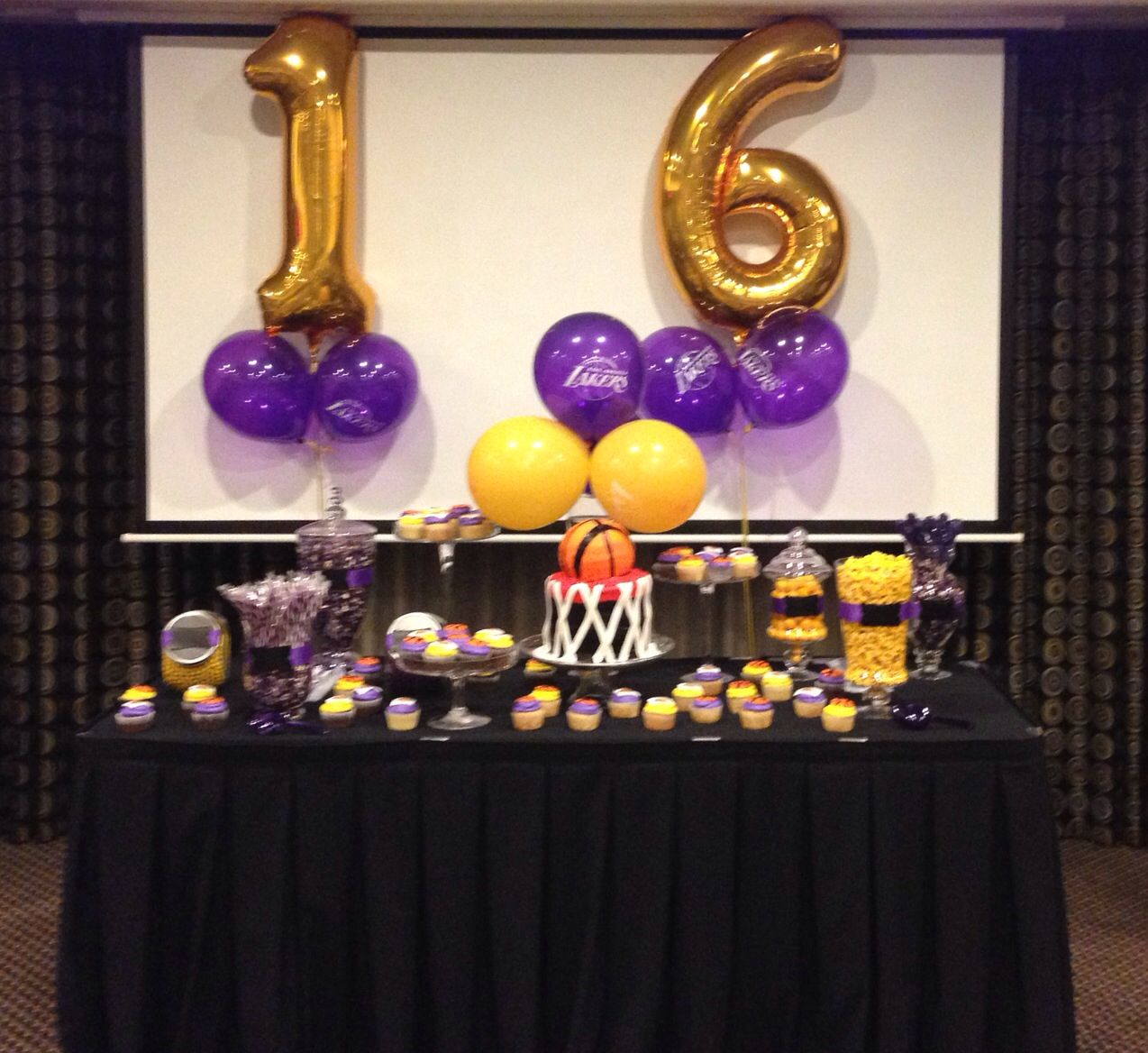 Lakers party decorations Cookie Hudson Events