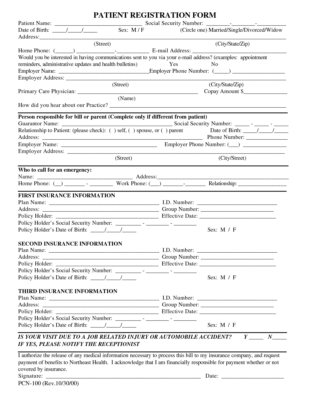 Free Patient Registration Form Template Blank Medical
