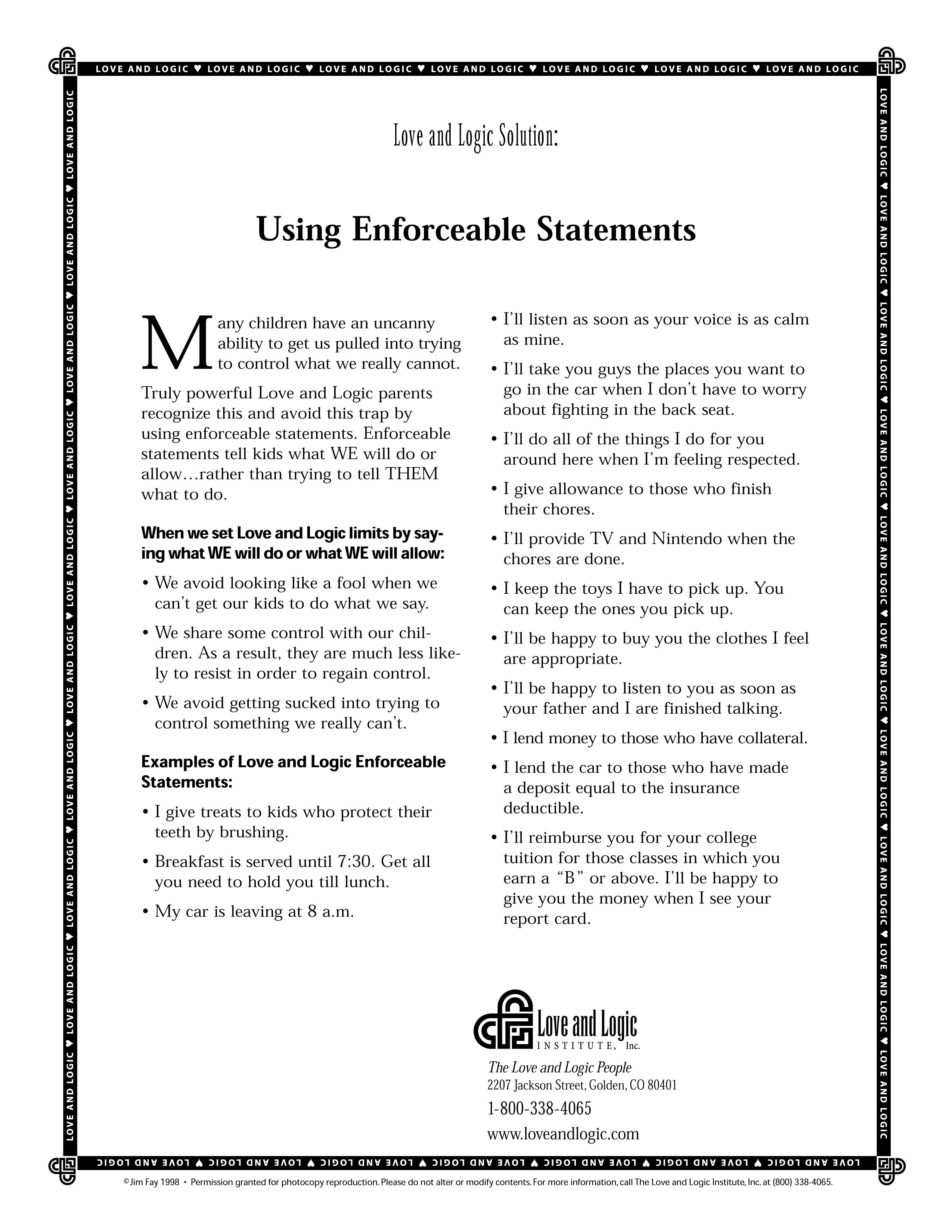 Parenting Handout On How To Use Enforceable Statements
