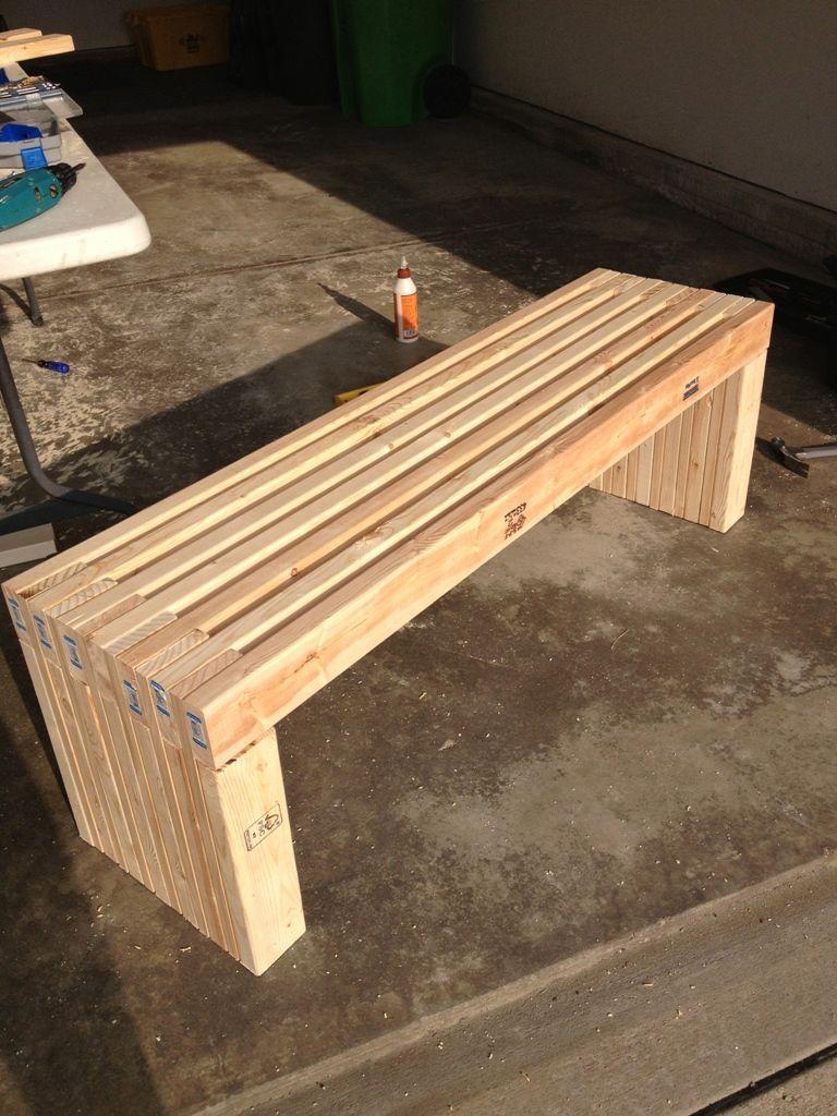 exterior, Simple Idea Of Long Diy Patio Bench Concept Made