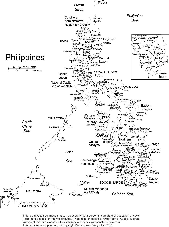 Philippines Printable Blank Map Royalty Free Manila