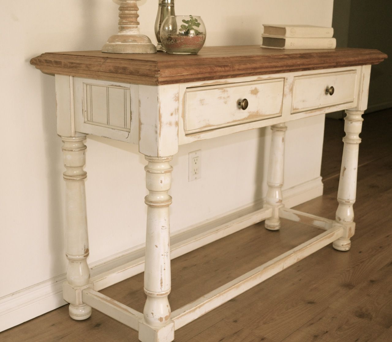 Farmhouse style console table. Distressed white paint