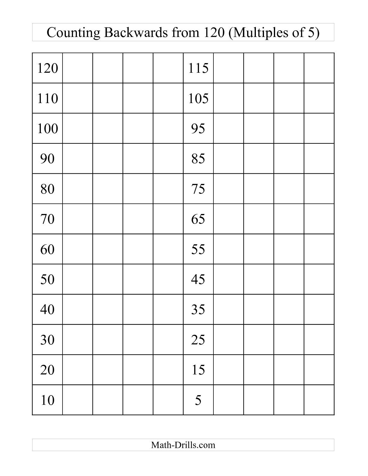 The Backwards 120 Chart With Multiples Of 5 C Math Worksheet From The Number Sense Worksheets