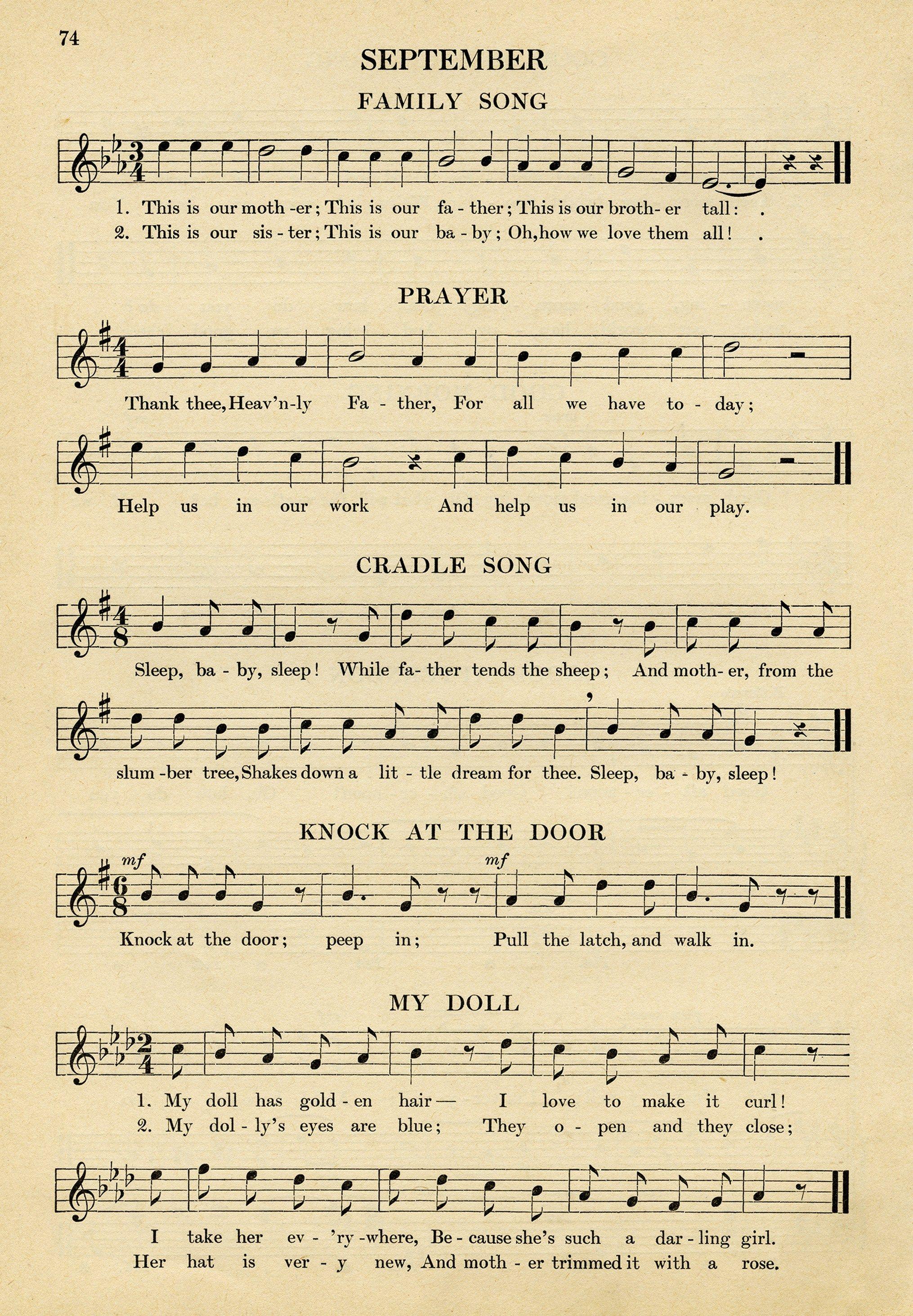 Vintage Sheet Music Songs For September Kindergarten Music Simple Songs For Children Old