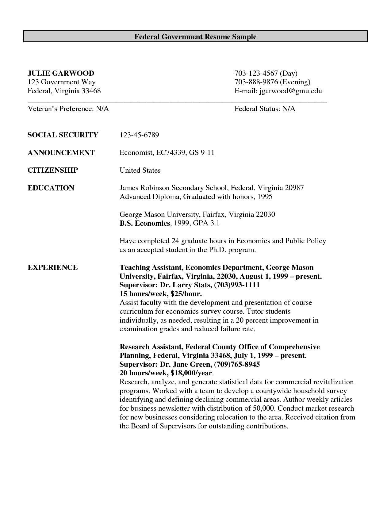 government resume template resume format and resume examples