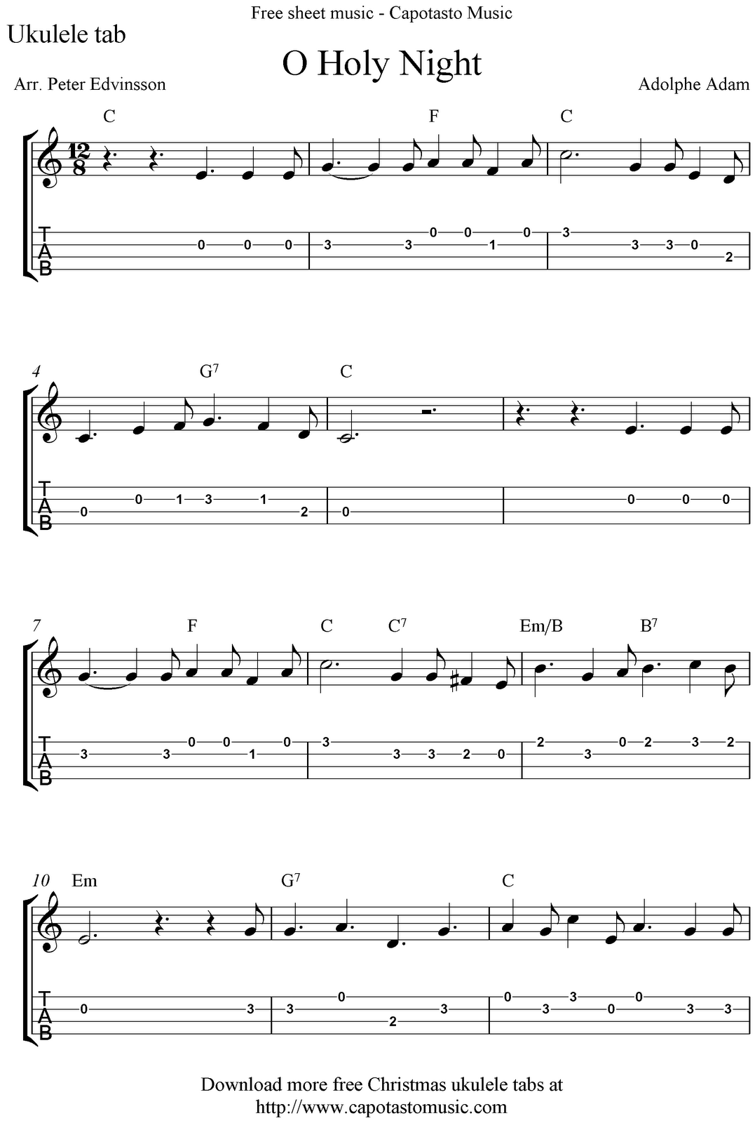 """O Holy Night"" Ukulele Sheet Music Free Printable"