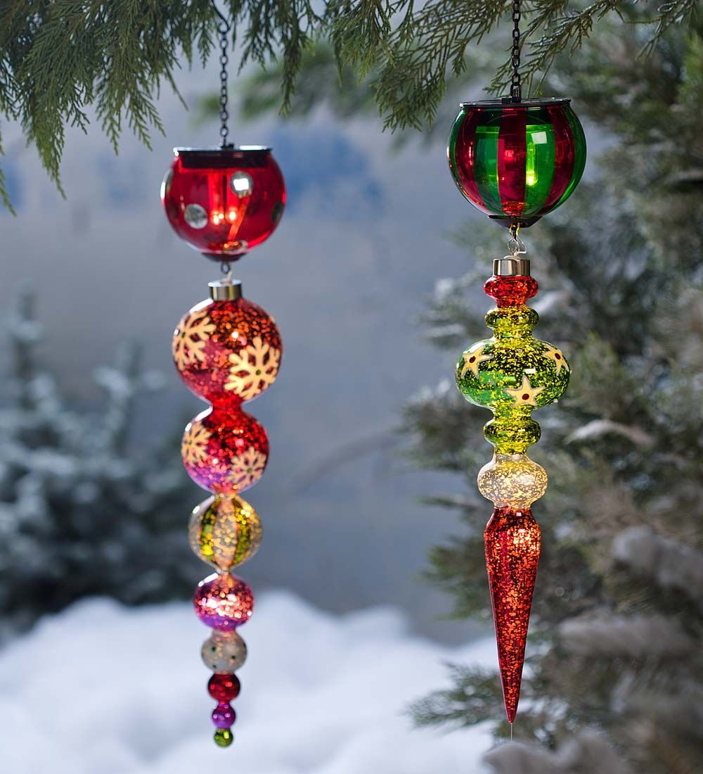 Solar Finial Holiday Ornament in Glass Outdoor Holiday