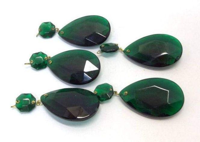 Lot Of Five Vintage 2 Emerald Green Chandelier Crystal Teardrops Teardrop Prism