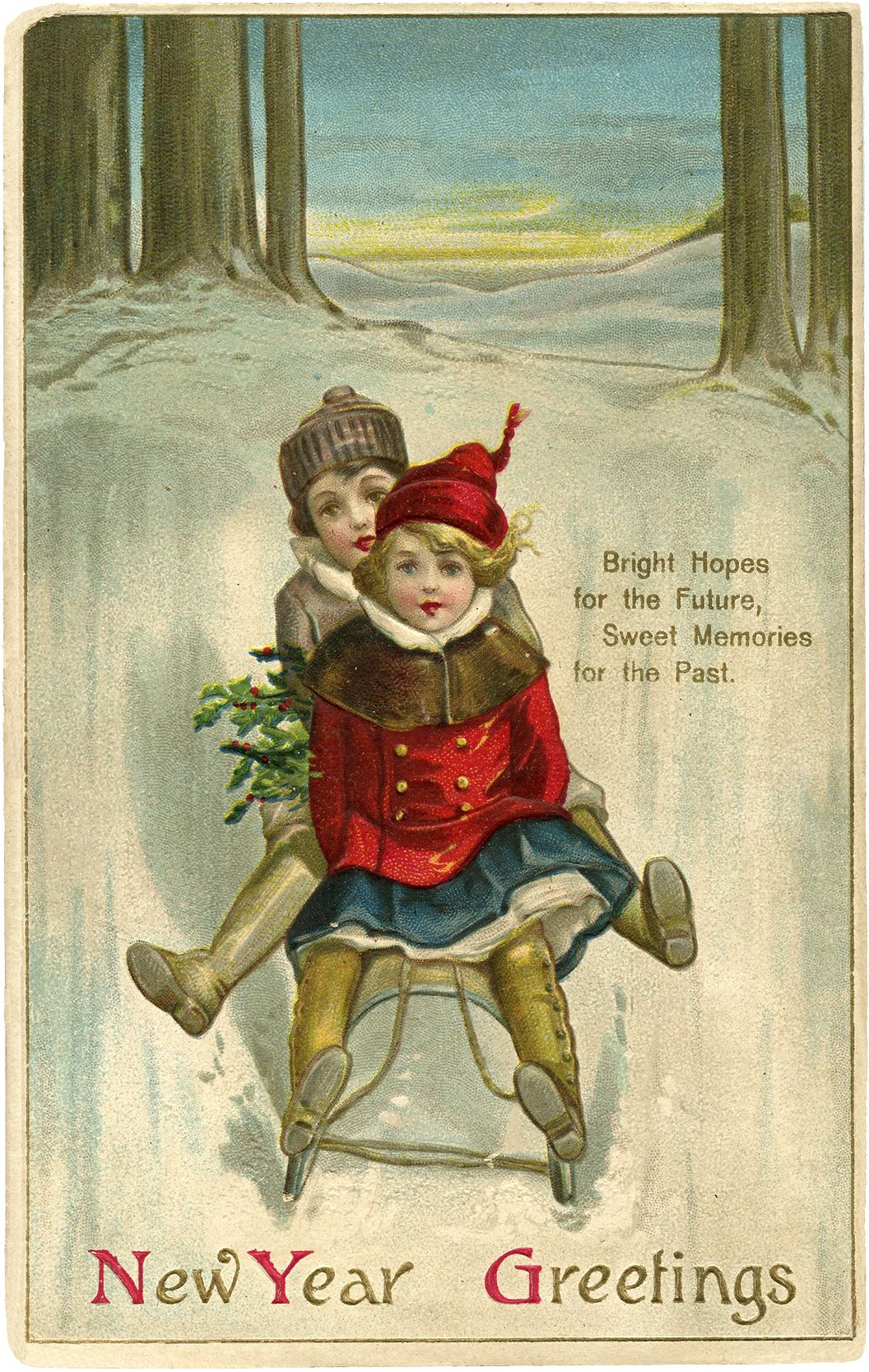 Vintage New Year Sled Image Cute Messages, Graphics