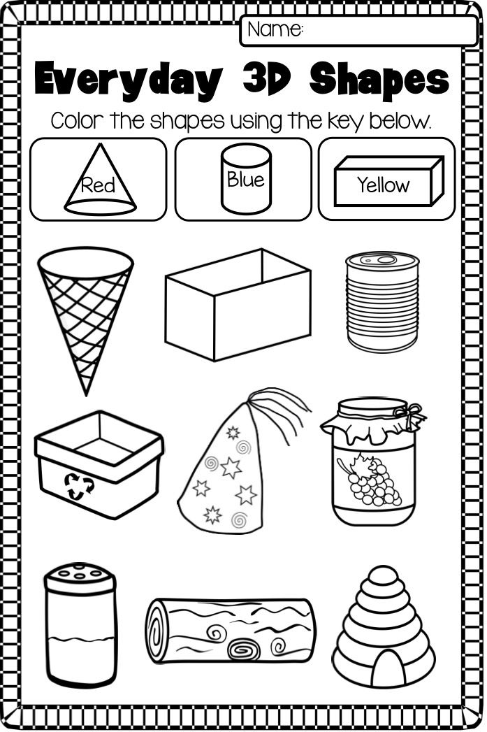 2D and 3D Shapes Worksheet Pack NO PREP 3d shapes