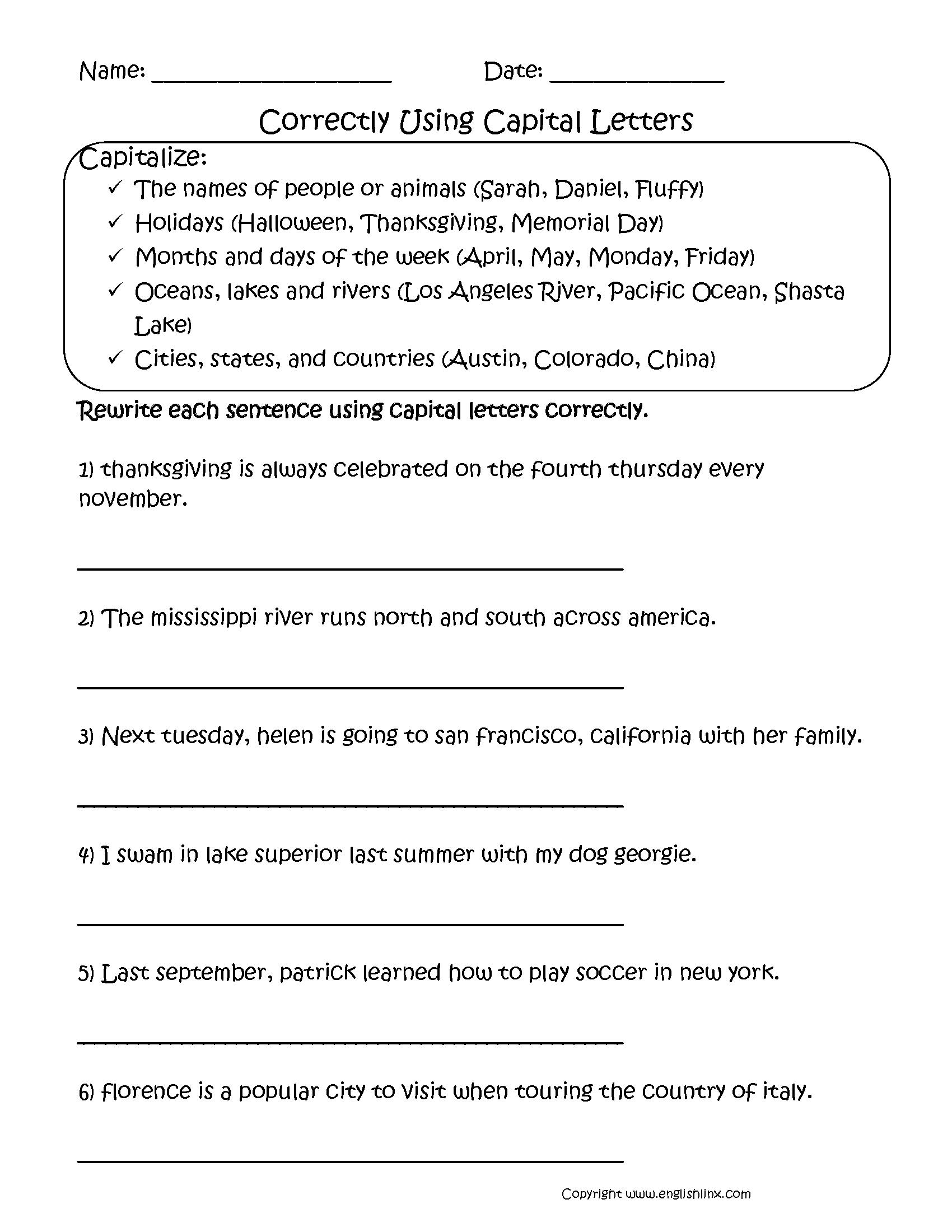 Correctly Using Capitalization Worksheets